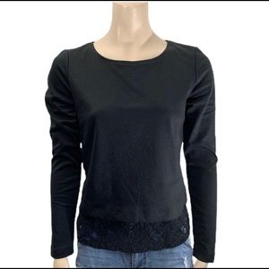 Alfred Sung Black Top with Lace Underlay